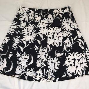 Lane Bryant Black White Floral Below Knee Skirt